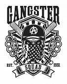Gangster Skull With Crossed Baseball Bats And Brass Knuckles Emblem poster