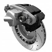 stock photo of friction  - three dimensional visualization of brake system - JPG