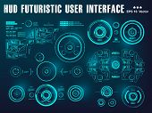 Hud Interface Dashboard, Virtual Reality Interface, Futuristic Virtual Graphic Touch User Interface, poster