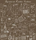 pic of kitchen utensils  - big vector set  - JPG