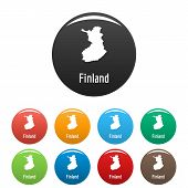 Finland Map In Black Set. Simple Illustration Of Finland Map  Isolated On White Background poster