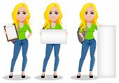 Happy Student With Backpack, Set Of Three Poses. Beautiful Female Cartoon Character Holding Checklis poster