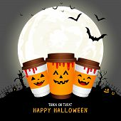 Paper Coffee Cups Cartoon Character With Moon. Halloween Concept. Happy Halloween Day. Trick Or Trea poster