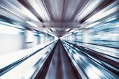 Motion Blur Abstract Background, Fast Moving Walkway Or Travelator In Airport Terminal Transit, Zoom poster