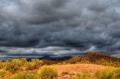picture of thunderhead  - Desert storm over the southwestern desert and mountains - JPG