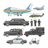 Government Car Vector Presidential Auto And Luxury Business Transportation With Police Car Illustrat poster
