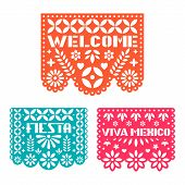 Paper Greeting Card With Cut Out Flowers, Shapes And Text. Papel Picado Vector Template Design Set I poster