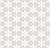Vector Abstract Geometric Seamless Pattern. Floral Grid Background. Subtle White And Beige Ornament  poster