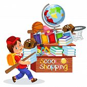Smiling Schoolboy Making Purchases In Stationary Store Vector Illustration. Cheerful Pupil Carrying  poster