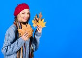 Portrait Of Smiling Woman With Maple Leaves. Autumn. Autumn Mood. Sensual Woman With Autumn Leaf. Ye poster