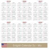 English Planning Calendar 2019 - 2024, Week Starts On Sunday, Simple Calendar Template For 2019, 202 poster