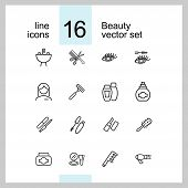 Beauty Icons. Set Of Line Icons. Aromatherapy, Perfume, Mascara. Cosmetics Concept. Vector Illustrat poster