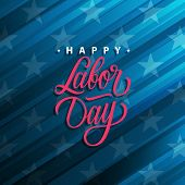 United States Labor Day Celebrate Card With Handwritten Holiday Greetings Happy Labor Day. Vector Il poster