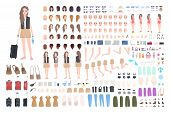 Traveler Girl Constructor Or Diy Kit. Bundle Of Female Tourist Body Parts, Postures, Clothing, Touri poster