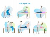 Chiropractor Vector Illustration Collection Set. Doctor, Therapist Or Masseur Exam Sick Person In Ho poster