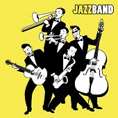 Jazz Band. Five Jazz Players Playing Jazz Music. Cartoon Style poster