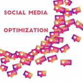 Social Media Optimization. Social Media Icons In Abstract Shape Background With Gradient Counter. So poster