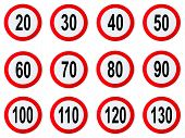 Speed Limit Sign - Set Of Circle Speed Limit Signs With Red Border Isolated On White poster