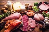 Large Group Of Food, Healthy Food For A Protein Diet poster