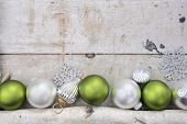 image of mantle  - Birch log with Christmas Ornaments - JPG
