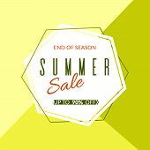 Geometric Banner Summer Sale End Of Season 90% Discount On A Modern Geometric Background Summer Brig poster
