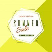 Geometric Banner Summer Sale End Of Season 90% Discount On A Modern Geometric Background Summer Brig poster
