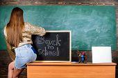 Girl Denim Skirt Breaking School Clothing Rules. Student Teacher Mini Skirt Sexy Buttocks Sit Table  poster