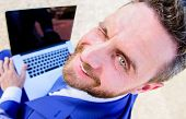 Man Smiling Cheerful Face Work With Laptop Close Up. Pleasant Workday Outdoors. Sunny Summer Day Gre poster