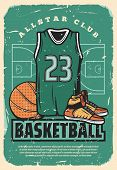 Basketball Club Or College Team And Sport League Retro Poster. Vector Vintage Design Of Basketball P poster