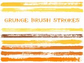 Yellow Ink Brush Strokes Isolated Design Elements. Set Of Paint Lines. Cool Stripes, Textured Paintb poster