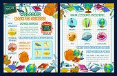 Back To School Poster Template With School Supplies And Science Infographic. Maths, Chemistry, Biolo poster