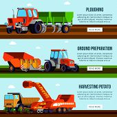Potato Cultivation Flat Horizontal Banners With Agricultural Machinery For Ploughing Ground Preparat poster