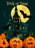 Halloween Greeting Card Of Pumpkin Scary Lantern For Trick Or Treat October Holiday Party Celebratio poster