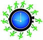 group of people running around the clock illustration design