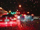 Rain Night Traffic Jam In Bangkok Blur Sleepy Vision Of  Doze Off Driver poster