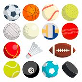 Sport Balls Set Vector. Round Sport Equipment. Game Classic Balls. Gaming Icons. Soccer, Rugby, Base poster