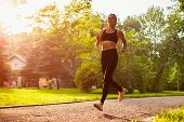 Young Sportive Woman Running In Summer Park. Sportswoman Jogging. Workout. Training poster