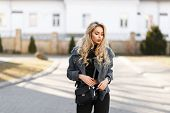 Beautiful Young Stylish Woman Model With A Stylish Black Handbag In A Gray Fashion Coat Posing Outdo poster