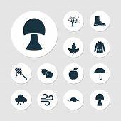 Season Icons Set With Mushroom, Hazelnut, Wind And Other Tree Elements. Isolated  Illustration Seaso poster