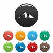 Mountain For Extremal Icon. Simple Illustration Of Mountain For Extremal Icons Set Color Isolated On poster