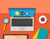 Desktop Laptop Learning Background. Flat Illustration Of Desktop Laptop Learning Background For Web  poster