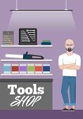 Salesman In Tools Shop Interior Banner. Assortment Of Hand Instruments And Power Tools. Showcase Of  poster