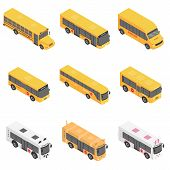 School Bus Back Kids Icons Set. Isometric Illustration Of 9 School Bus Back Kids Vector Icons For We poster