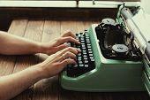 Antique Typewriter. Vintage Typewriter Machine. Macro Photography. Close Up. Object. poster