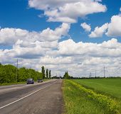 Fields, Road And Sky poster