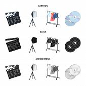 Movies, Discs And Other Equipment For The Cinema. Making Movies Set Collection Icons In Cartoon, Bla poster