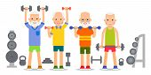 Old Man Doing Exercises With Dumbells And Kettlebell. Pensioners And Gymnastics With Weights. Senior poster