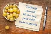 Challenge yourself, it is the only path which leads to growth - inspirational handwriting on a napki poster