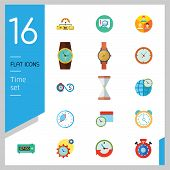 Time Icon Set. Time Is Money Time Management Calendar Time World Alarm Clock Sandglass Round-the-clo poster