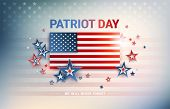 Patriot Day Usa Flag Vector Background. The United States Flag In Sunshine Light, Patriot Day, We Wi poster